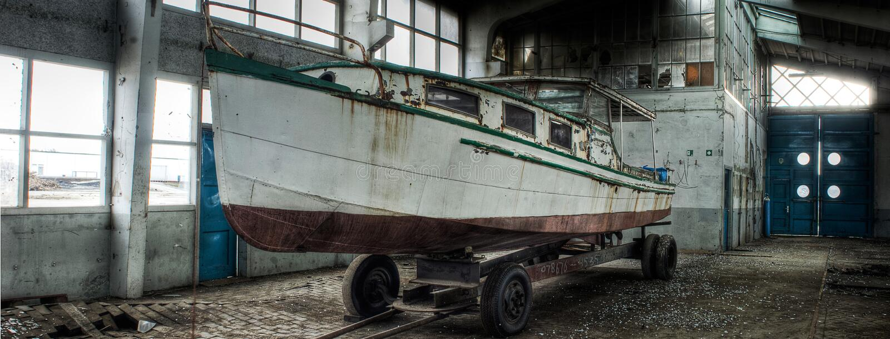 Lost boat stock photo