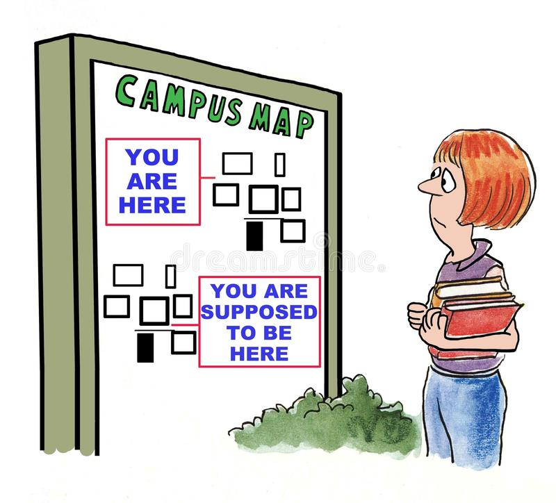 Lost on Campus. Cartoon of student lost on large college campus royalty free illustration