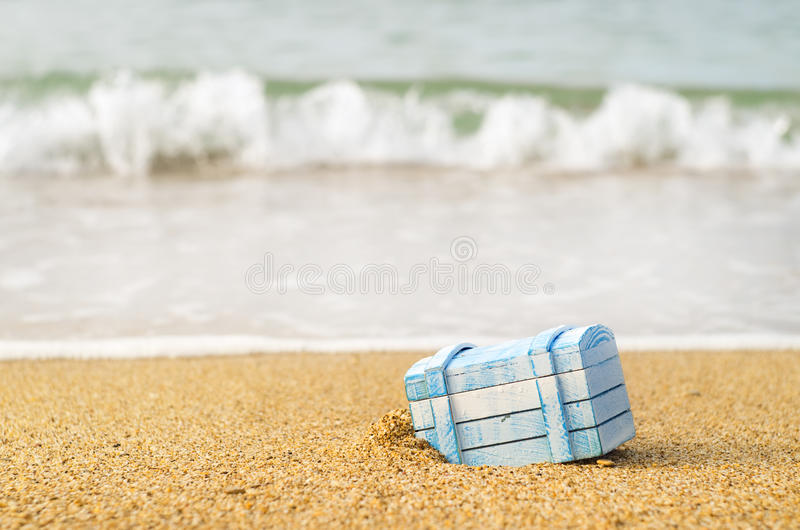 The lost chest on seacoast. The lost chest with treasures on seacoast royalty free stock photography