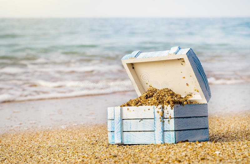 The lost chest. With treasures on seacoast stock images