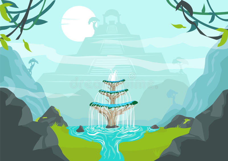 A Lost City with Fountain of Youth or Elixir of Life concept. Editable Clip Art. A beautiful framed forest scene of a lost city or civilization with an ancient vector illustration