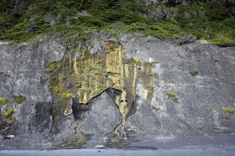 Lost Coast Erosion. Eroded cliffside along the isolated sands of Northern California's Lost Coast royalty free stock images