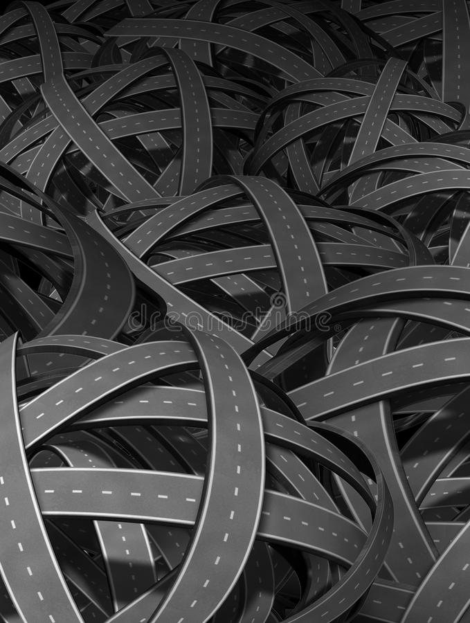 Lost and confused. Direction going nowhere in business and life symbol represented by tangled bundeled roads and highways interlinked in a chaotic unclear vector illustration