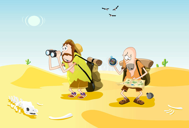 Lost in the desert vector illustration