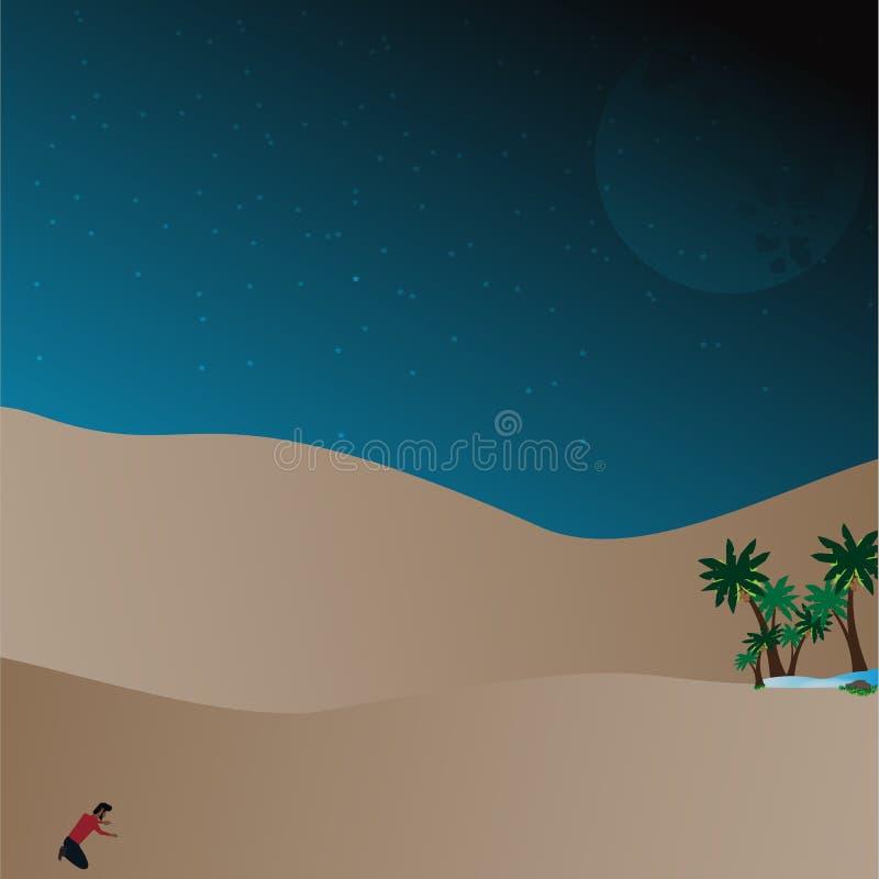 Lost in desert stock illustration