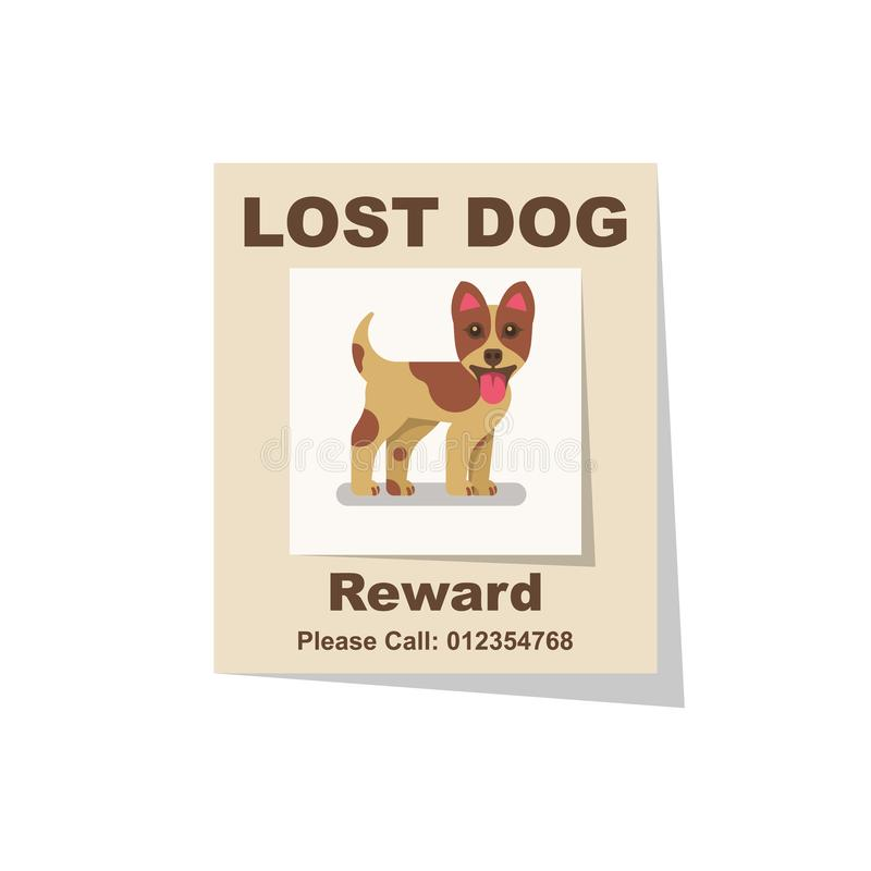 Free Lost Dog. Reward For The Find. Missing Poster Stock Photos - 147799373