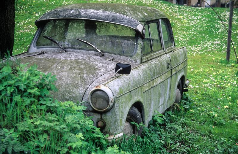 Lost and forgotten- Wittness from the past, Car made in GDR stock image
