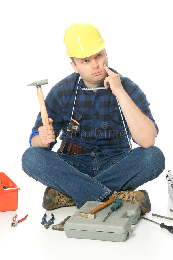 Download Lost handyman stock photo. Image of worker, hard, shirt - 11457362
