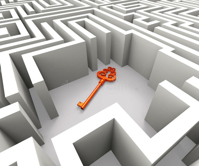 Lost Key In Maze Shows Security Solution stock image