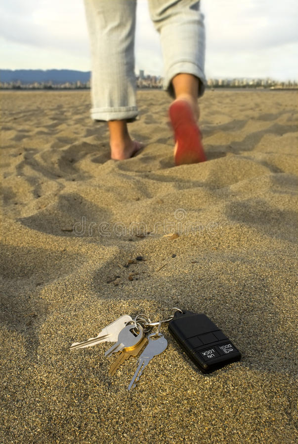 Lost keys at the beach royalty free stock photography