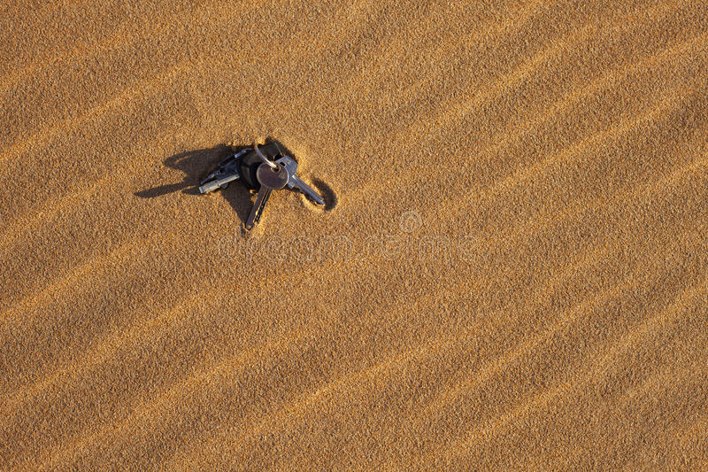 Lost Keys in Sand stock photos