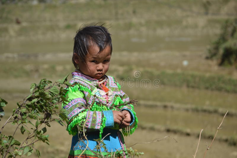 Lost look of a Vietnamese child stock images