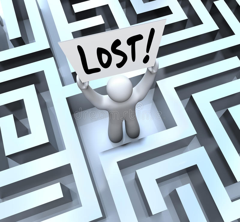 Download Lost Man Holding Sign In Labyrinth Maze Stock Illustration - Image: 26510190