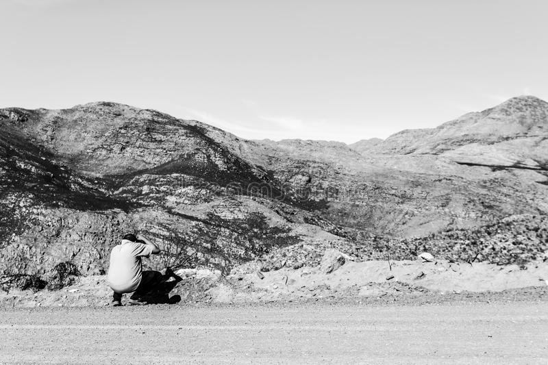 Lost man in the Swartberg Pass royalty free stock photo