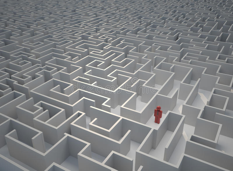 Lost in maze vector illustration