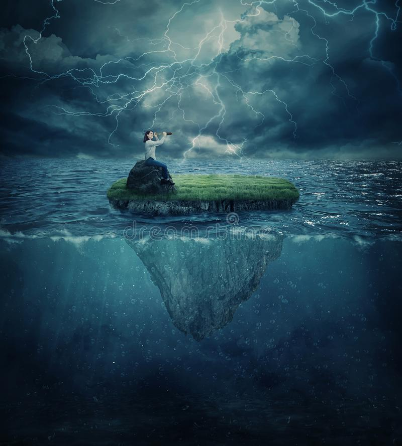 Lost in the ocean royalty free stock image