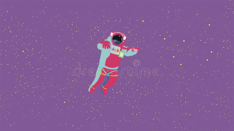 lost in the outer space an Astronaut. Stars on the purple background, bright abstract colors. vector illustration