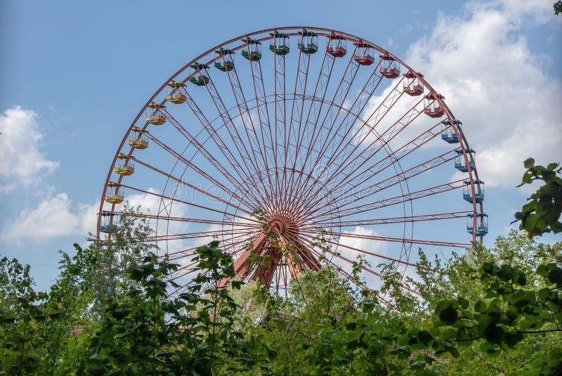 Lost places, ferris wheel of the former amusement park in Berlin stock image