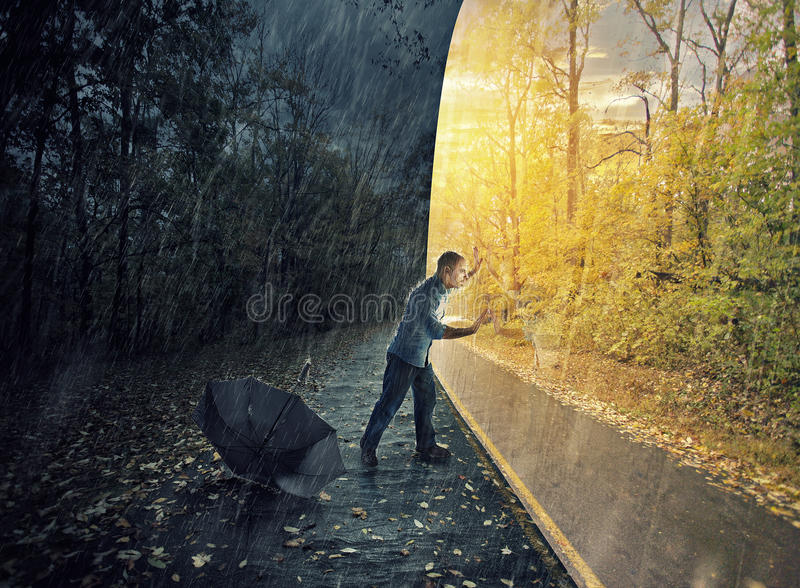 Lost in the rain royalty free stock photos