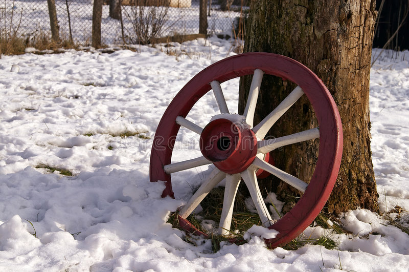 Download Lost Red Wheel stock image. Image of snow, abstract, wood - 464573