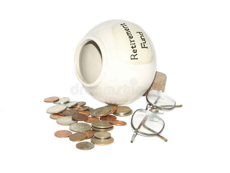Lost retirement savings. Concept on white stock image