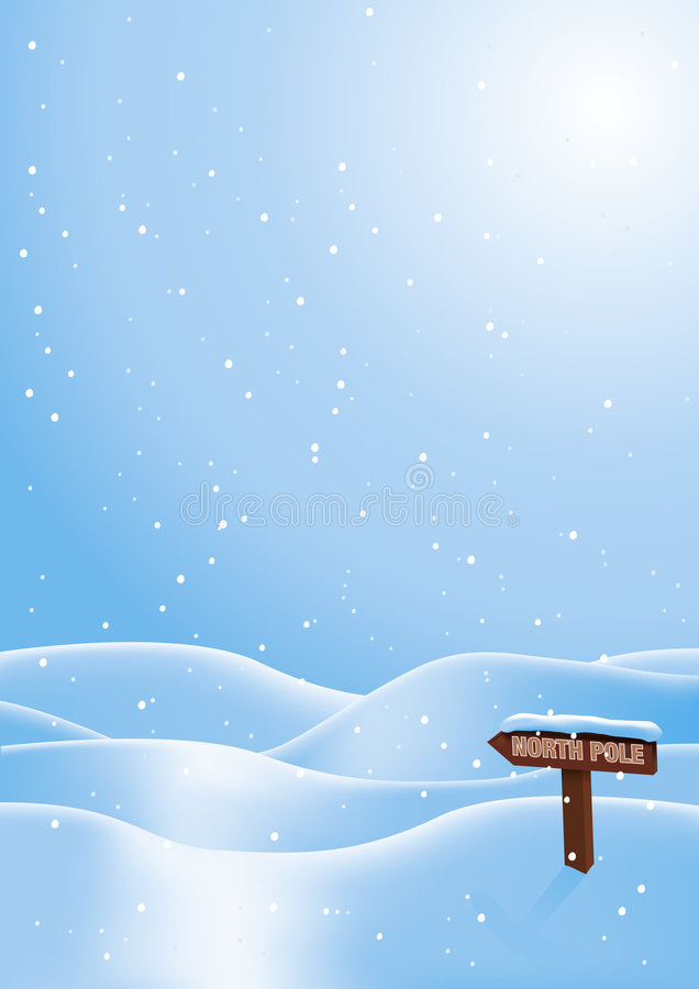 Lost in the snow. Snow scene with North Pole sign covered in snow