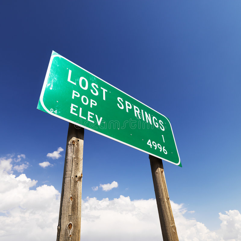 Download Lost Springs road sign. stock image. Image of rural, word - 4244807