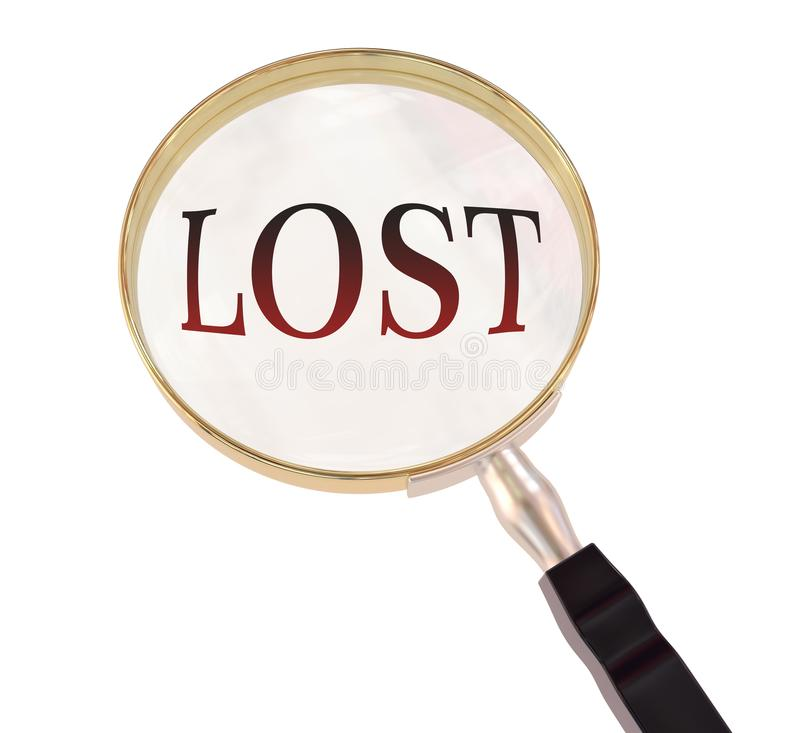 Lost magnify. Lost symbol magnify by 3d rendered magnifying glass on isolated white background stock illustration
