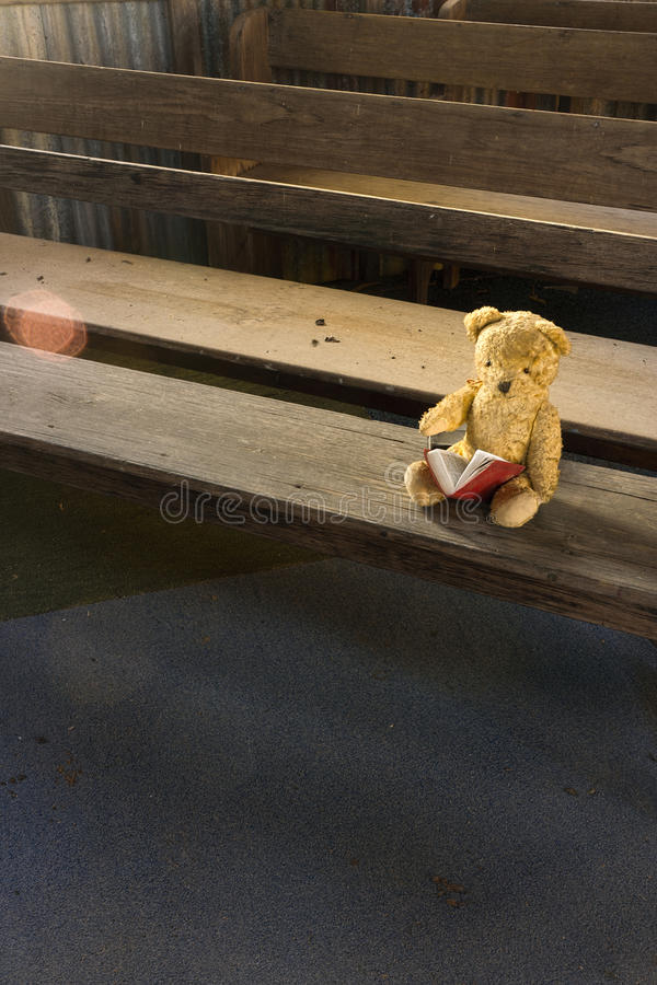 Lost Teddy Bear in Abandoned Old Church royalty free stock image