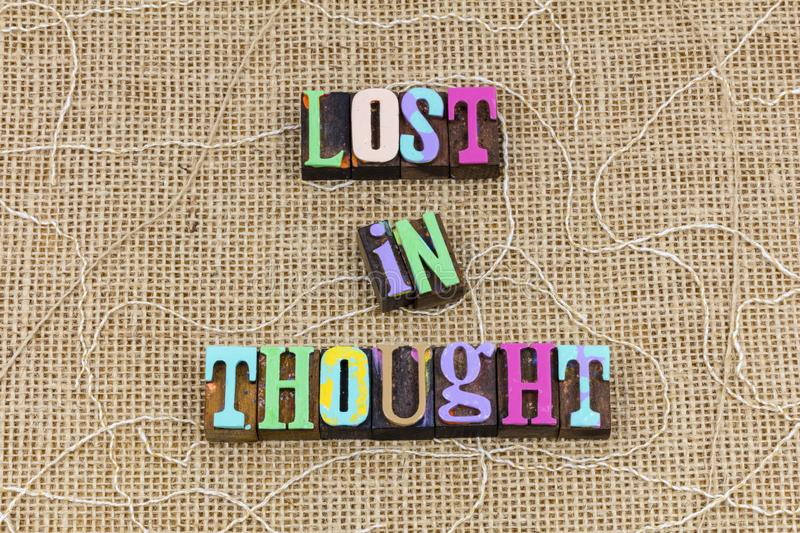 Lost thought positive attitude thinking concentration dream dreaming dreamer stock photo