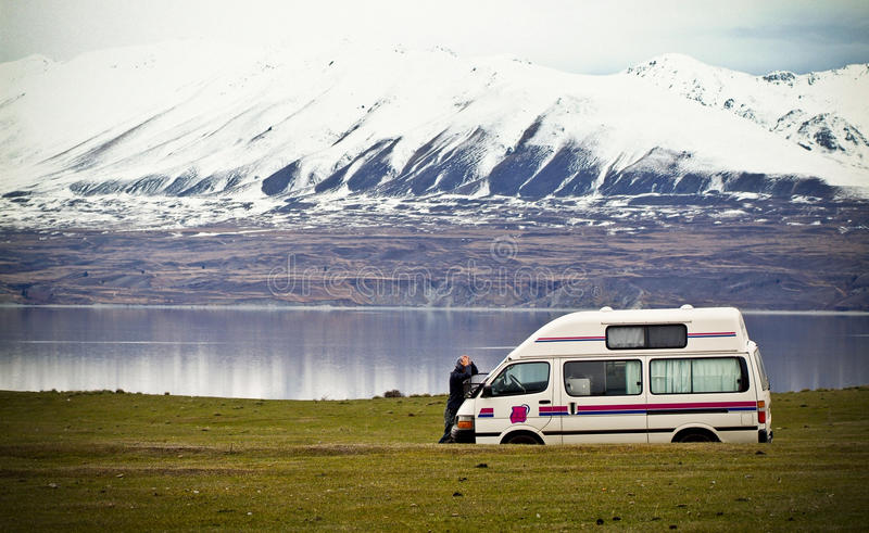Lost Tourist with Camper Van royalty free stock photo