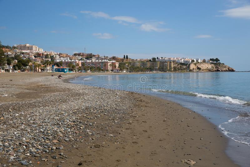 Losu Angeles Cala Del Morał playa na wschód od Malaga i zbliża Rincon de los angeles Wiktoria na Costa Del Zol Hiszpania fotografia stock