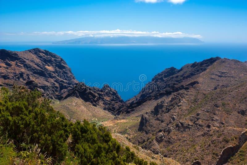 Losu Angeles Gomera wyspa widzieć od Tenerife wyspy, Hiszpania obraz royalty free