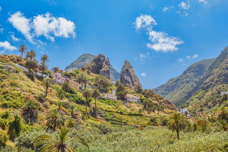 Losu Angeles Gomera wyspy falez Pogodny krajobraz obraz stock