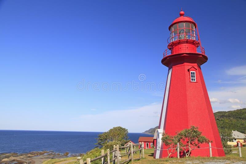 Losu Angeles Martre latarnia morska i świętego Lawrance rzeka, Quebec zdjęcia royalty free