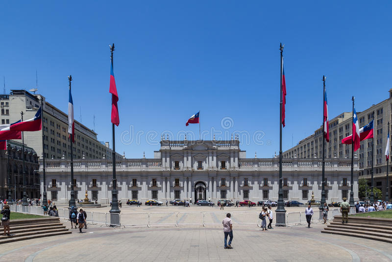 Losu Angeles Moneda pałac w Santiago de Chile fotografia stock