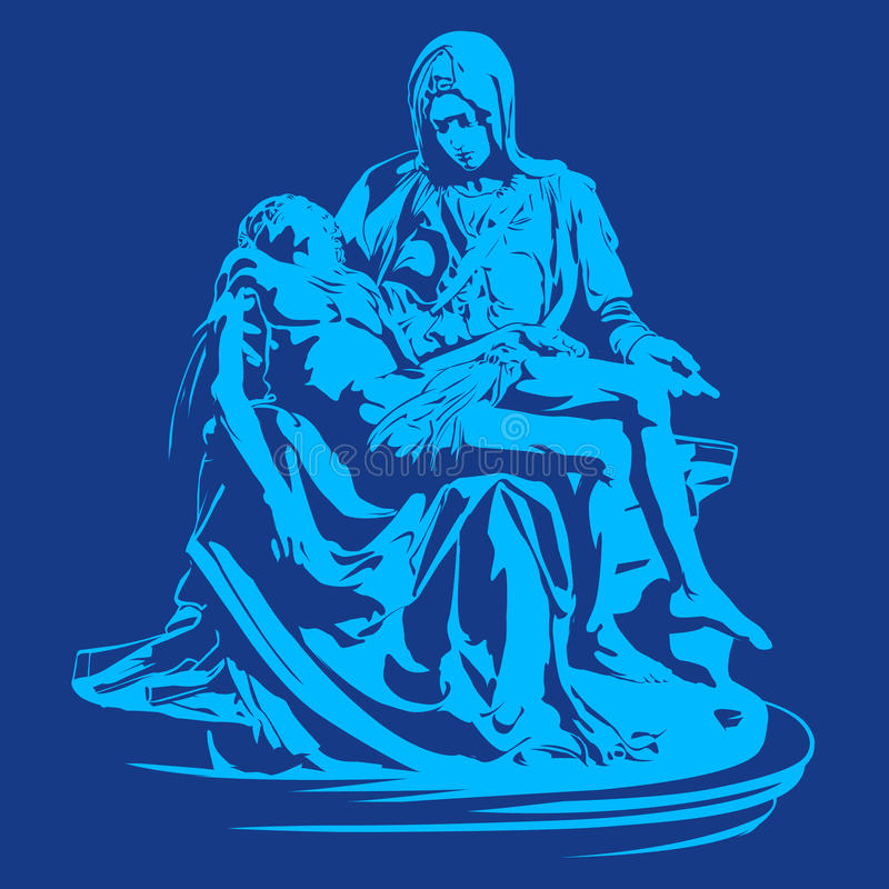 Losu Angeles pieta, pieta Michelangelo, pieta rzeźba, Mary Jesus matka ilustracji