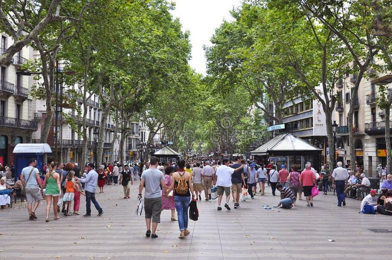 Losu Angeles Rambla środkowa ulica Barcelona, Hiszpania obraz royalty free