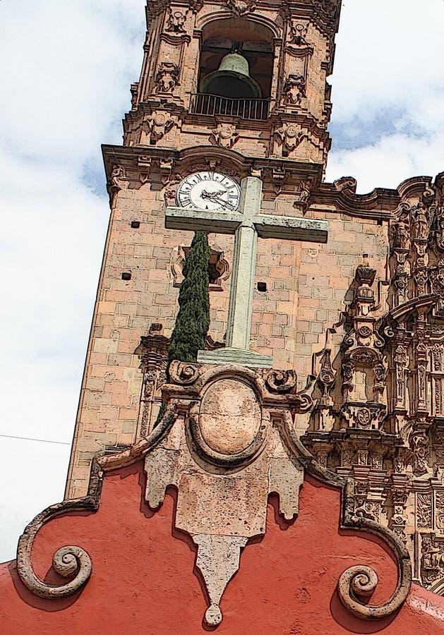 Losu Angeles Valenciana kościół katolickiego krzyż, Guanajuato, Meksyk zdjęcie royalty free