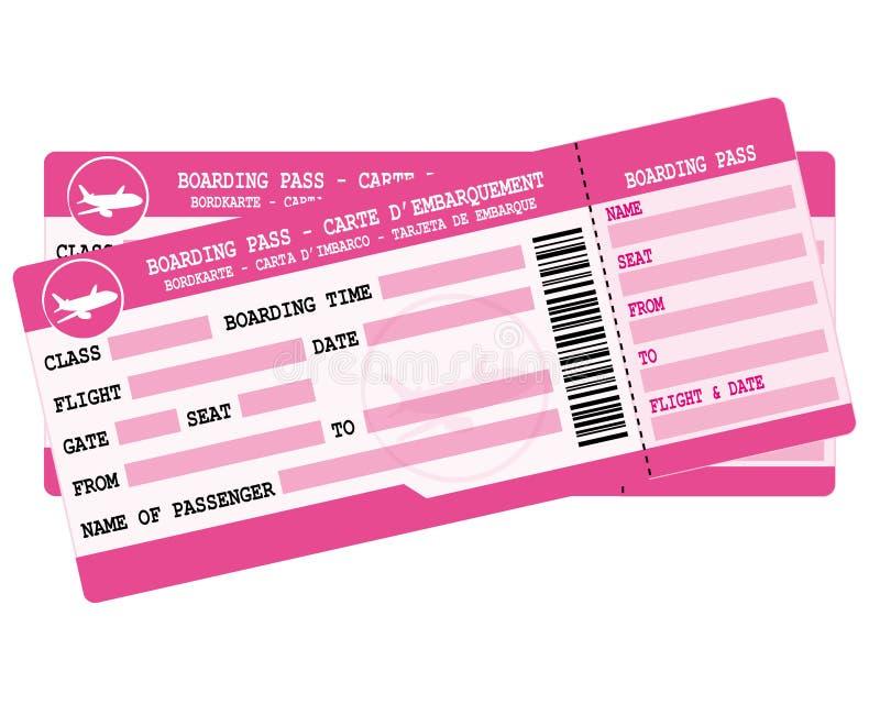 Lotów bilety Dwa różowej abordaż przepustki Ilustracja dla urlopowego odjazdu ilustracja wektor