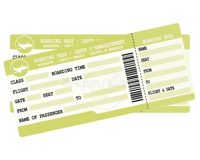 Lotów bilety Dwa zielonej abordaż przepustki Ilustracja dla urlopowego odjazdu ilustracja wektor