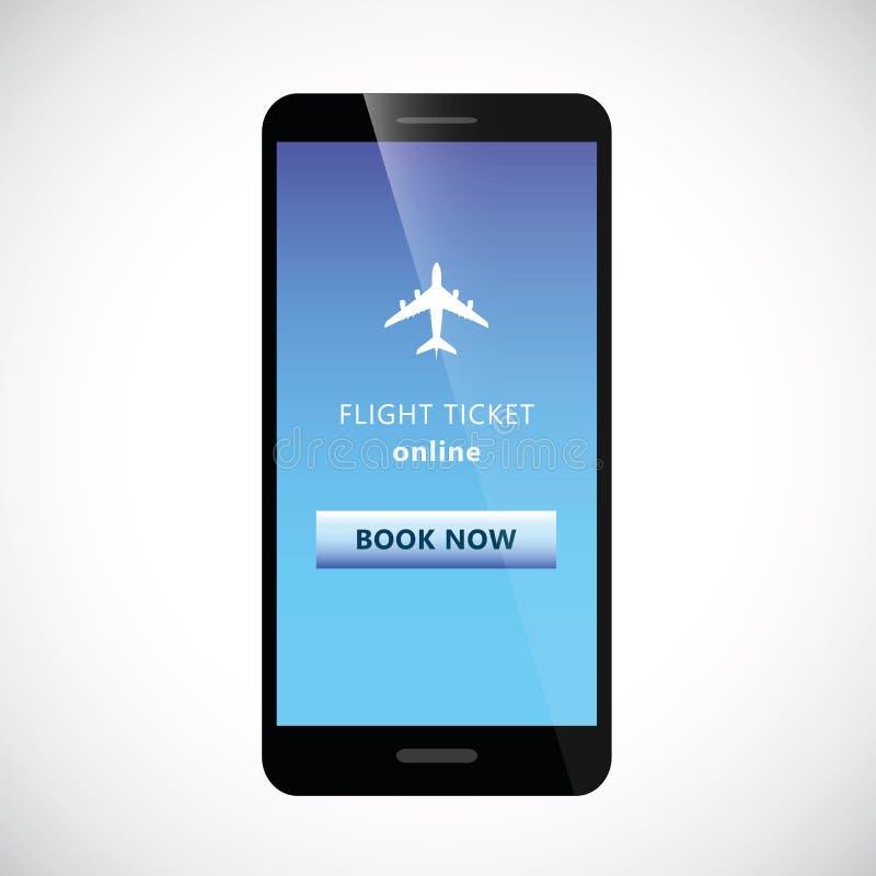 Lotów bilety online od smartphone telefonu komórkowego z samolotu i książki guzikiem ilustracja wektor