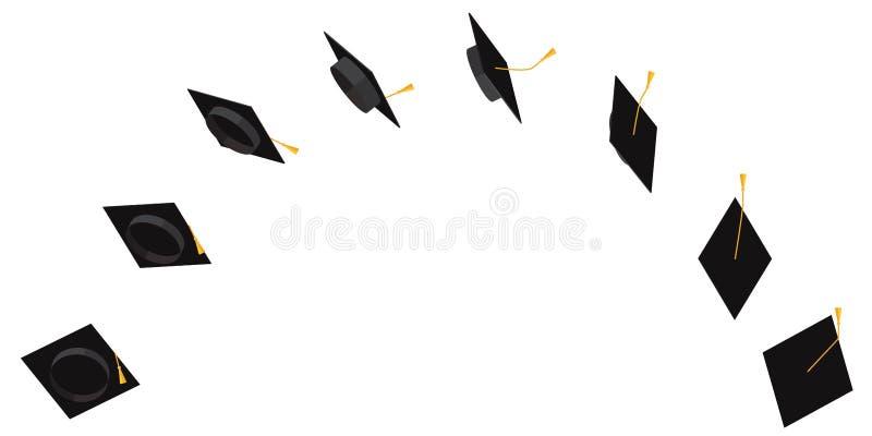 Lot ścieżka studencka nakrętka z kitką w różnych kątach animować lot Wektorową płaską ilustrację royalty ilustracja
