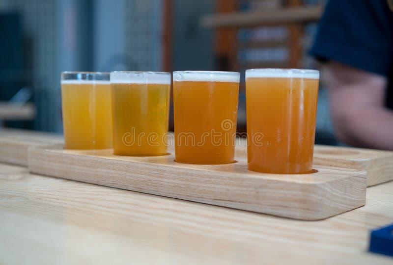 Lot światło barwił rzemioseł piwa siedzi na drewnianej desce na a obrazy royalty free