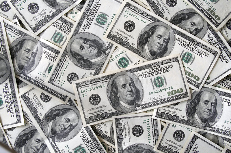 A lot 100 dollar bills. A lot of 100 dollar bills royalty free stock images