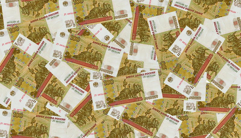 A lot of 100 Russian Roubles bank notes. royalty free stock photography