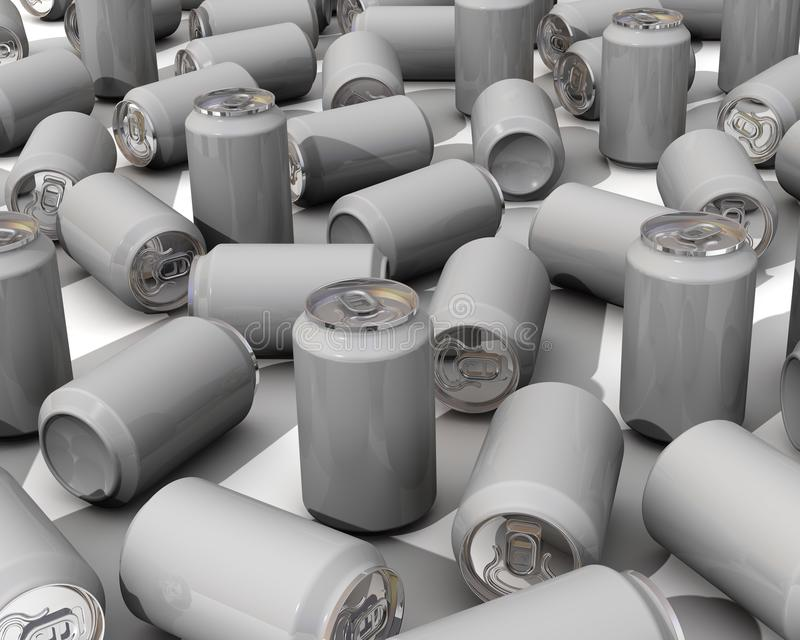 A lot of aluminum beverage cans stock illustration