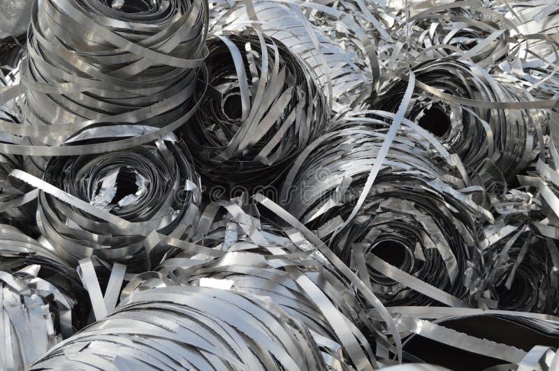 Lot aluminum tape. metal scrap stock photos
