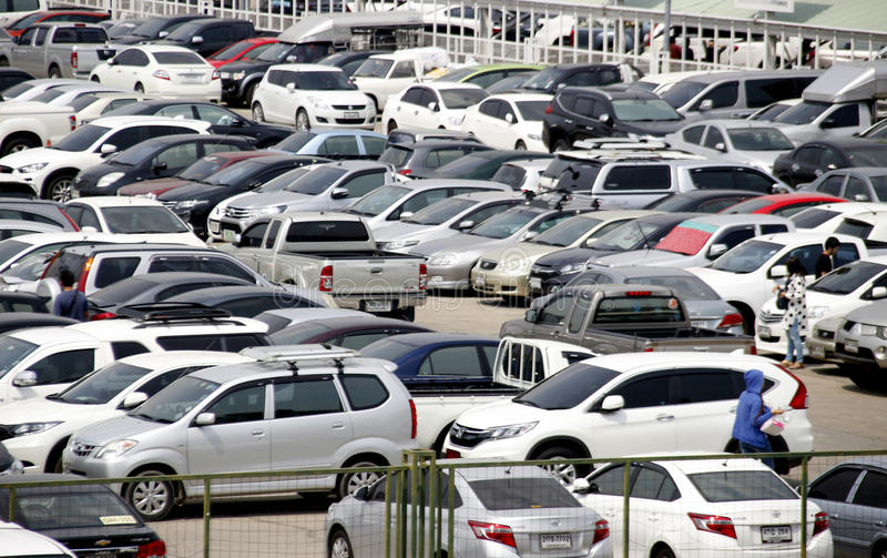 Lot of automobile in car parking. Bangkok,Thailand.4 April 2016 lot of automobile in car parking Exhibition Hall stock image