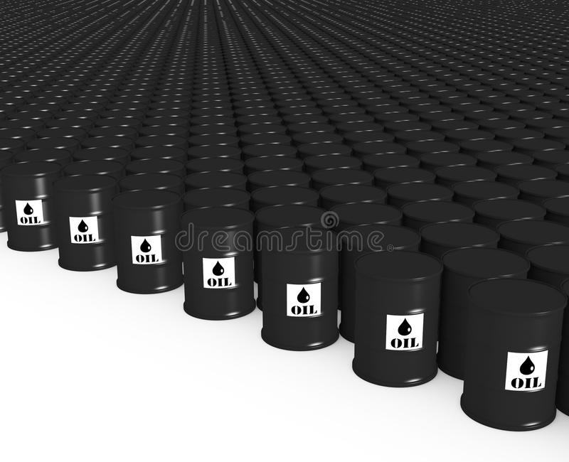 Lot barrels of oil. Barrels of oil are lined up in rows vector illustration